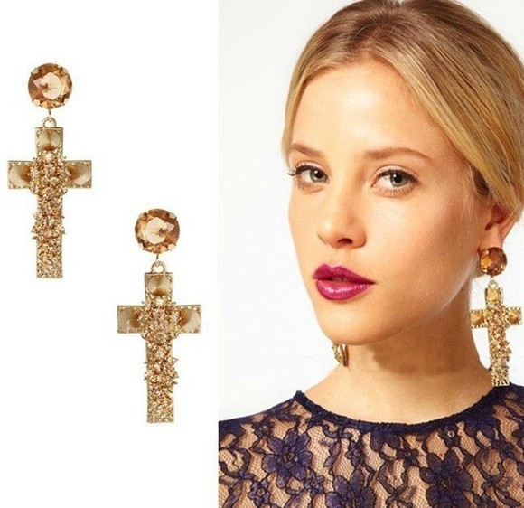 cross earring jewels