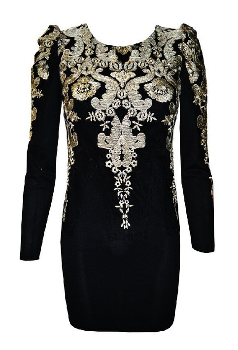 Gold embroidered puff sleeve mini dress in black