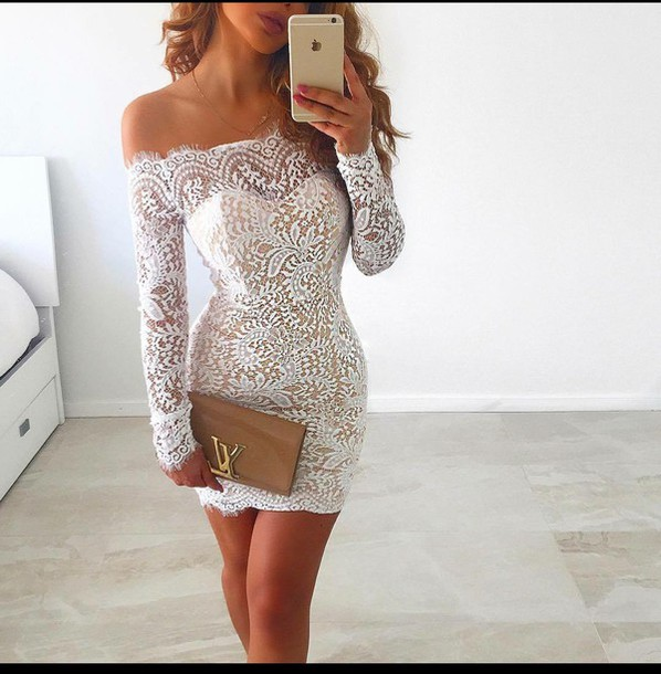 7020dcc49066 dress white lace dress off the shoulder dress long sleeve dress evening  dress summer dress cute