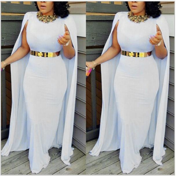 Long White Cape Dress