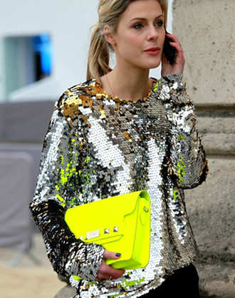 blouse metallic blouse silver sequins long sleeves metallic bag yellow bag neon tumblr tumblr outfit top sequin blouse yellow streetstyle