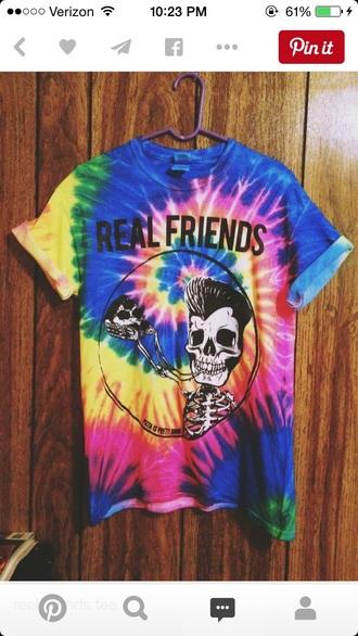 t-shirt tie dye shirt tumblr shirt skull
