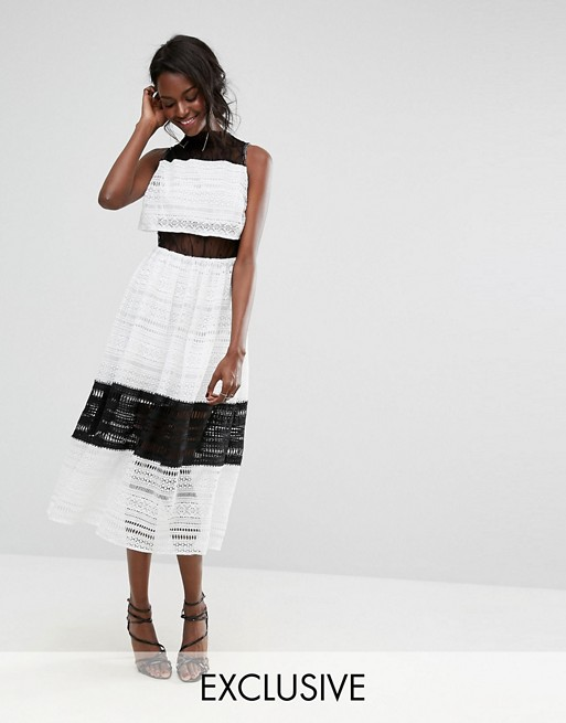 Boohoo Lace Mesh Overlay Midi Dress At Asoscom