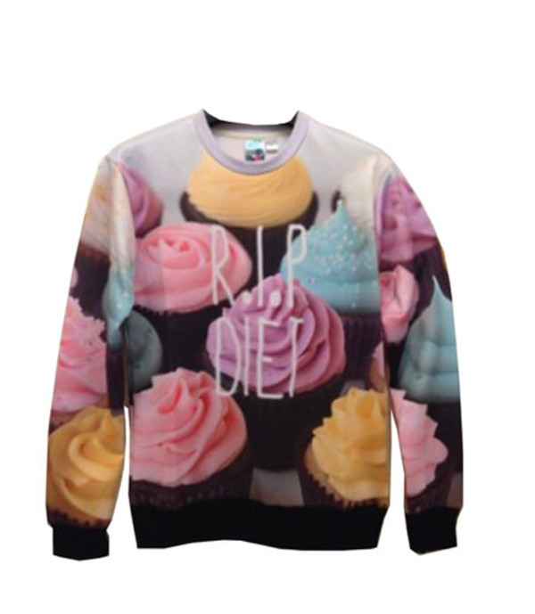 sweater crewneck sweater cupcake clothes shirt wish.com