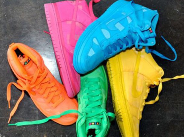 shoes pink or yellow nike high tops