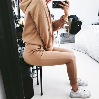 jumpsuit brown brown jogger outfit outfit cute outfits nude tracksuit