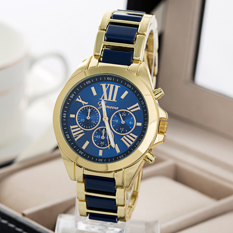 2015 new fashion watch women geneva brand watches men quartz watch gold steel relogio masculino relogio feminino free shipping