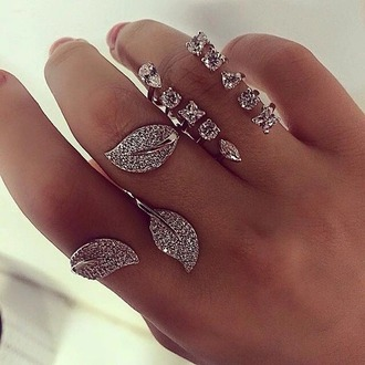 jewels ring knuckle ring armor ring silver ring double ring leaf ring sparkle