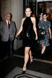 dress,olivia wilde,sequin dress,sequins,black dress,sandals,met gala,backless dress,shoes
