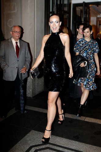 dress olivia wilde sequin dress sequins black dress sandals met gala backless dress shoes