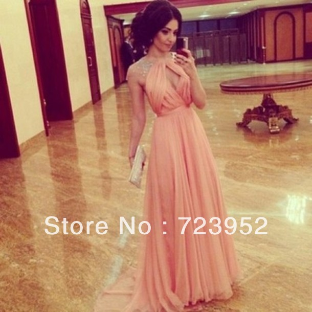 8bb1ea005f Aliexpress.com : Buy Free Shipping New Design Charming Peach Chiffon  Beading Sexy Backless Prom Dresses Wedding Event Formal Evening Dresses  from ...