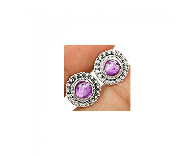 Awesome 925 sterling silver Gemstone Amethyst Stud