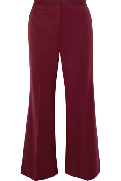 Rosetta Getty - Cropped Wool-blend Twill Flared Pants - Burgundy