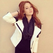 jacket,black and white,blazer,scarf,knitted scarf