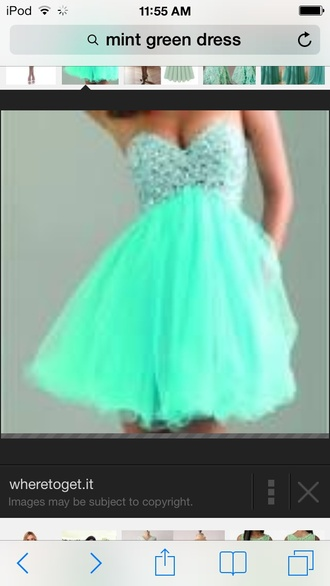 dress mint dress jewelled top short dress