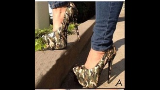 shoes camouflage heels high heels
