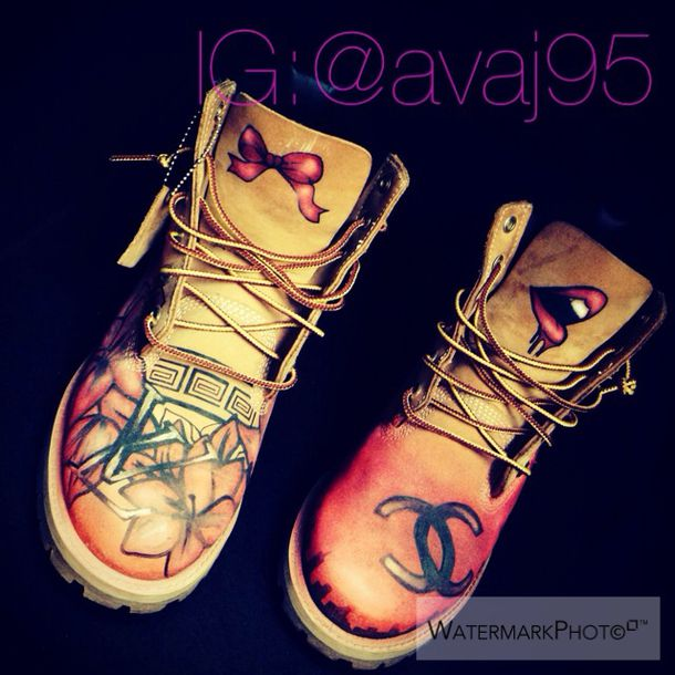 90acdb2ac1fb shoes custom timberlands dope artwork custom shoes boots ribbon lips  designer brown timberlands