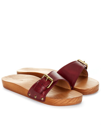 sandals leather burgundy red