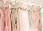 dress,pink,gold,champagne colour,prom dress,champagne coloured dress with low cut back,pink maxi dress