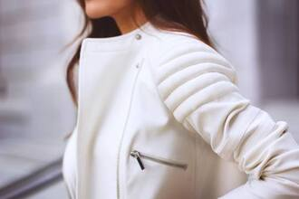 jacket white jacket white fashion hot beautiful coat leather jacket