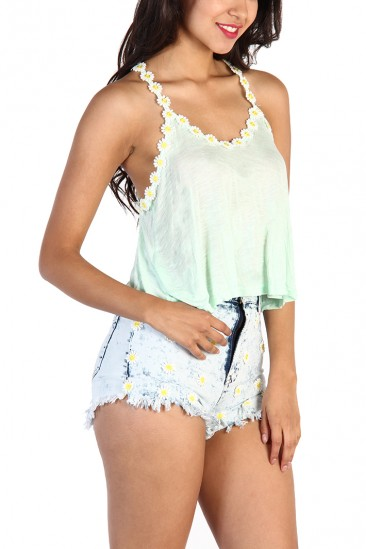 LoveMelrose.com From Harry & Molly | Racer Back Daisy Strap Tank Top - Mint