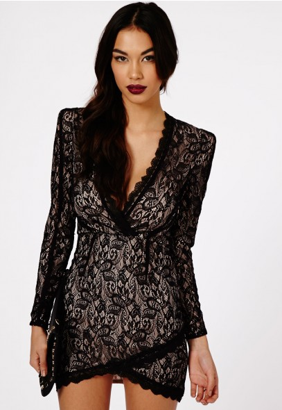 Nikhila lace wrap over mini dress