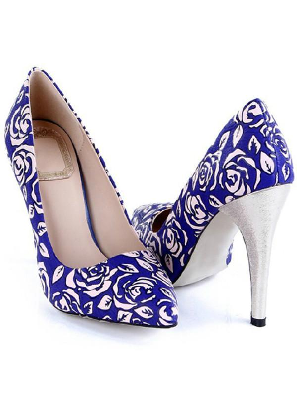 shoes retro blue floral print heels