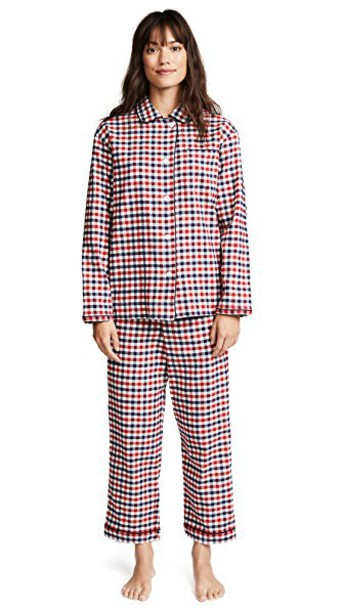 Sleepy Jones gingham flannel navy red underwear