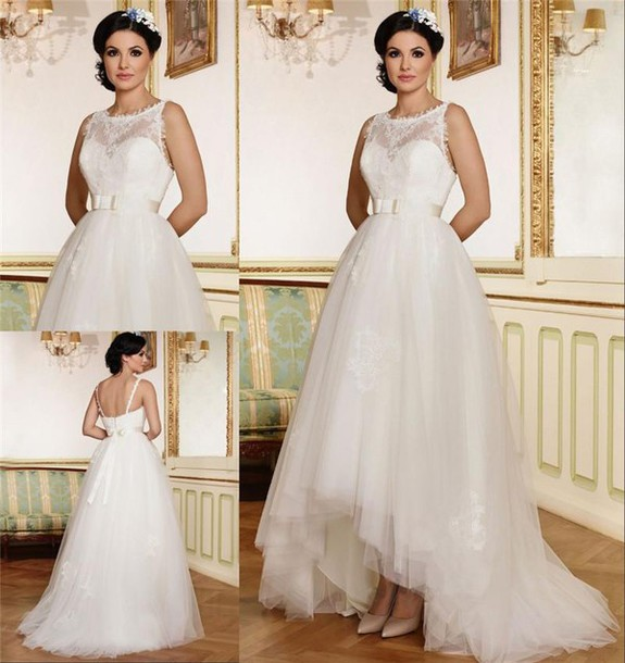 Dress 2016 Maya Fashion Wedding Dresses High Low Vintage Lace Country