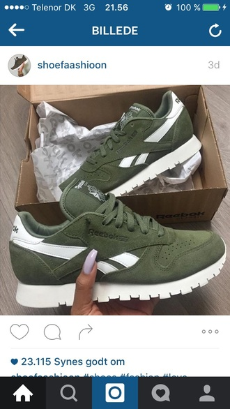 shoes reebok classic leather army green green