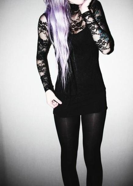 lace shirt blouse dress grunge little black dress lace dress goth goth hipster shirt top