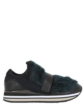 fur faux fur sneakers neoprene black green shoes