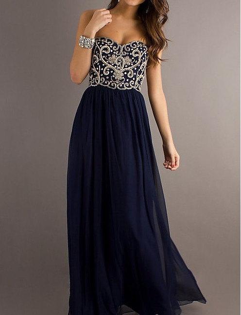 A line navy blue sweetheart chiffon floor length long prom dress