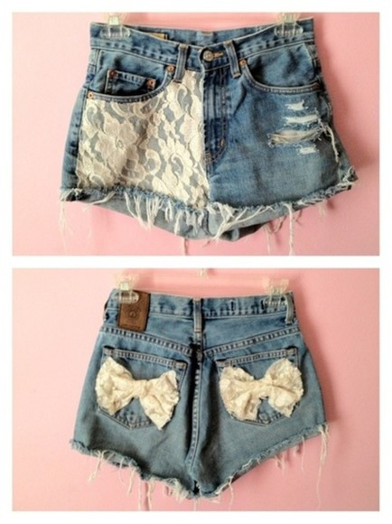 shorts lace denim shorts summer outfits short denim clothes fashion casual jeans cute bows distressed
