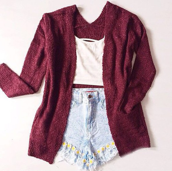 cardigan burgundy shirt skirt shorts