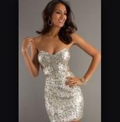 dress,sequin dress,sexy dress,silver dress,silver sequin dress,semi formal,homecoming dress,cute dress,prom dress,omfg