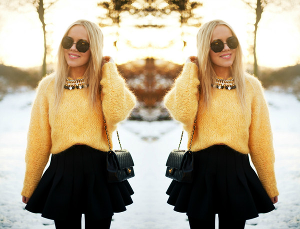cath in the city skirt sweater jewels bag sunglasses