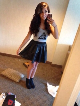 shirt andrea russett skirt leather alternative grunge hipster shoes blouse