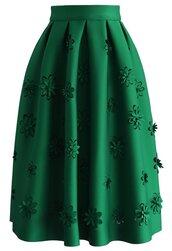 skirt,falling flowers airy pleated midi skirt in green,chicwish,green,floral,midi skirt,floral midi skirt,green skirt