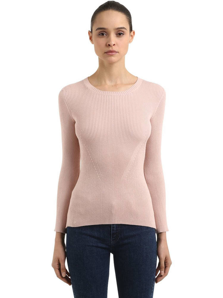 COLIAC Ariete Rib Knit Sweater W/ Snap Buttons in pink