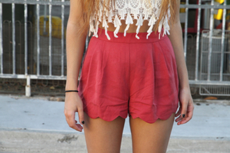 shorts coral round fabric high waisted shorts