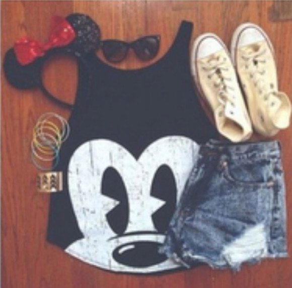 mickey mouse shorts minnie shirt top muscle shirt chucks converse chuck taylor converse white headband jewelry sunglasses bow hat