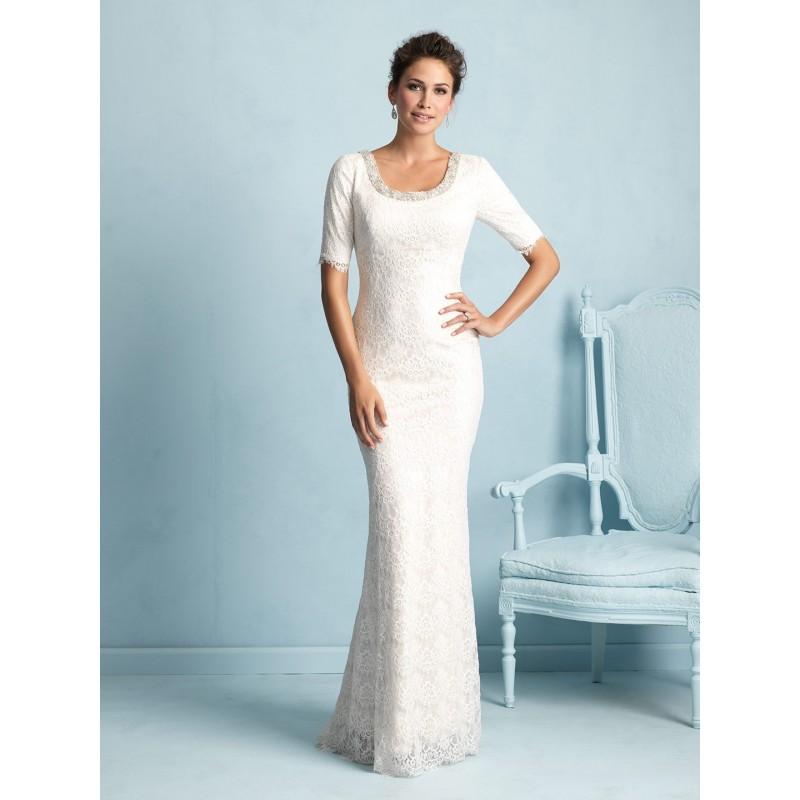 Allure Modest M532 Sequin Lace 3/4 Sleeve Wedding Dress - Crazy Sale ...