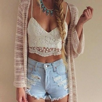 shirt white lace top crop tops bandeau spaghetti strap white crop tops jewels cardigan shorts