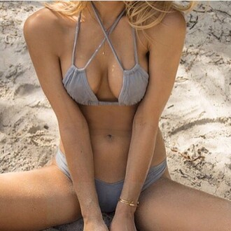 swimwear montce swim grey suede suede bikini bikini top triangle top grey suede