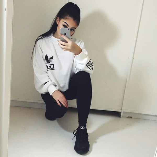 adidas sweater white sweater