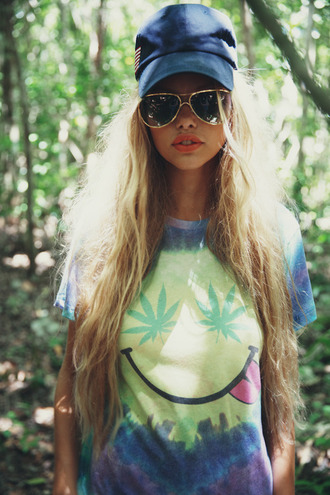 shirt weed tie dye tie dye t-shirt smiley hippie hash smile batik print weed shirt colorful