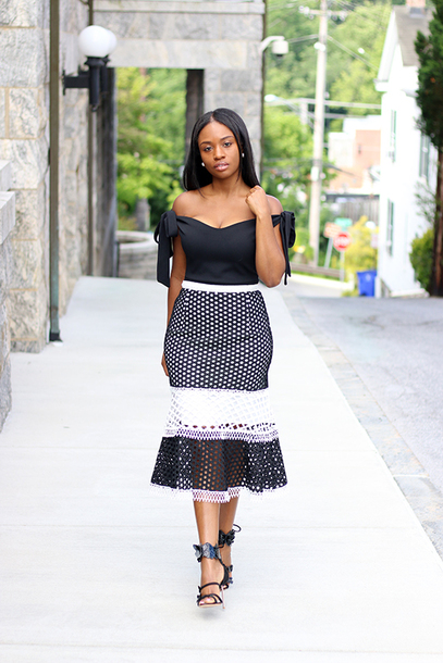 skirt pencil skirt midi skirt sandals blogger blogger style frill hem skirt eyelet detail off the shoulder top
