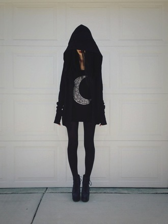 coat black goth emo punk jacket sweat jacket hoodie oversized sweater oversided hood