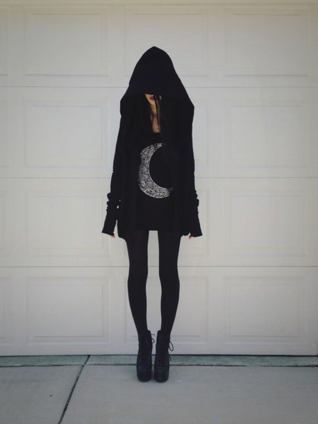 coat,black,goth,emo,punk,jacket,sweat jacket,hoodie,oversized sweater,oversided hood